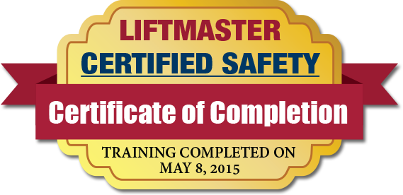Liftmaster Safety Compliance Certificate